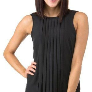 Michael Kors Black Pleated Polyester Tank Blouse